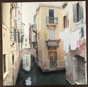 "Yellow House, Venice, Italy, Ink on Metal Limited Edition Print, 16"" x 16"", 10 of 25, $180. All Rights Reserved 2019 © Rachael Grad."
