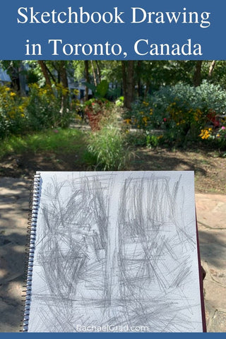 Sketchbook pencil drawing in Yorkville, Toronto by Canadian Artist Rachael Grad