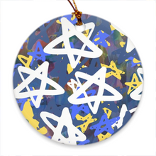 Load image into Gallery viewer, Chrismukkah Ornaments with Stars Art-Canadian Artist Rachael Grad