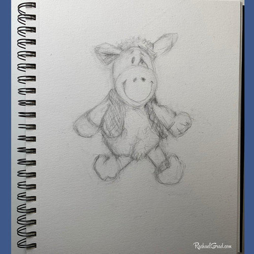 Toy Sheep Sitting Original Pencil Drawing by Toronto Artist Rachael Grad
