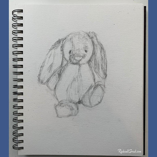 Drawing - Stuffed Toy Bunny-Original Art-Canadian Artist Rachael Grad
