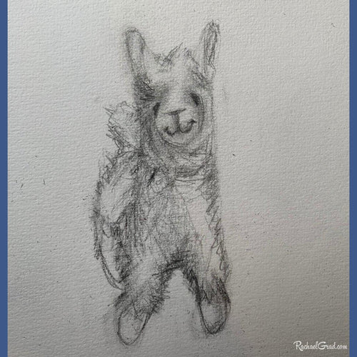 Llama stuffed toy pencil drawing by Toronto Artist Rachael Grad
