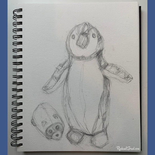 Original Sketchbook Drawing  of Penguin Mouse Toys by Artist Rachael Grad