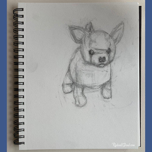 original pencil drawing on paper of toy dog by Artist Rachael Grad