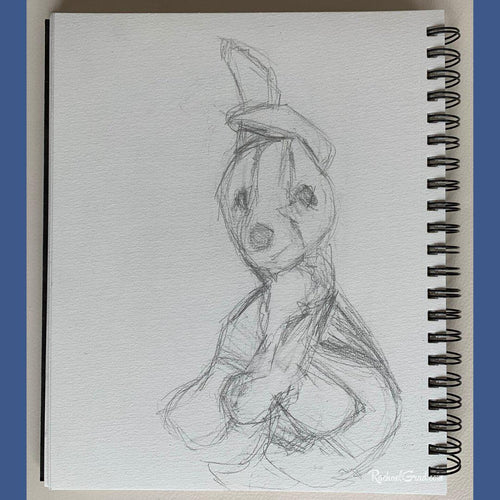 stuffed toy dog resting pencil drawing by Artist Rachael Grad