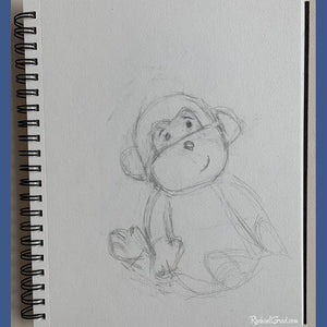 stuffed toy monkey pencil drawing by Artist Rachael Grad