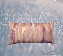 Load image into Gallery viewer, 24 x 12 Pillow Case with Pink and Neutral Art by Artist Rachael Grad, back view