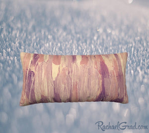 24 x 12 Pillow Case with Pink and Neutral Art by Artist Rachael Grad, back view