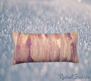 24 x 12 Pillow Case with Pink and Neutral Art by Artist Rachael Grad, front view