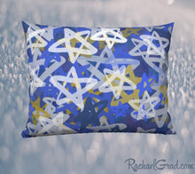 Load image into Gallery viewer, Pillowcase with Blue White Stars Art by Toronto Artist Rachael Grad