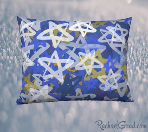 Pillowcase with Blue White Stars Art by Toronto Artist Rachael Grad