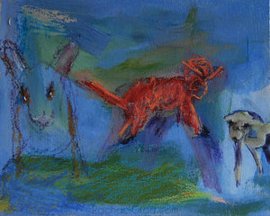 3 Animals Abstracted, Oil on Panel Painting, 2015 Rachael Grad Art
