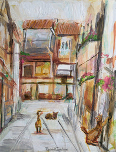 3 alley cats in Venice Italy by Canadian Artist Rachael Grad
