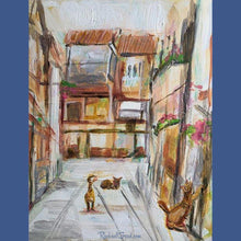 Load image into Gallery viewer, 3 alley cats in dorsoduro Venice, Italy original painting by Canadian artist Rachael grad RachaelGrad.com
