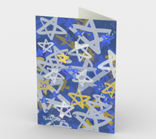 Load image into Gallery viewer, Mazel Tov stationery card by Artist Rachael Grad back view magen david