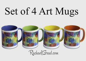 Set of 4 Mugs in Colorful Abstract Art by Artist Rachael Grad