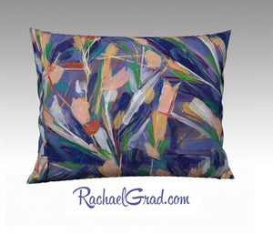 Abstract Flowers Large Pillowcase, 26 x 20 Pillow, Abstract Floral Long Pillow Cover, Natural Linen Pillowcase, Purple Decorative Pillow Art by Artist Rachael Grad