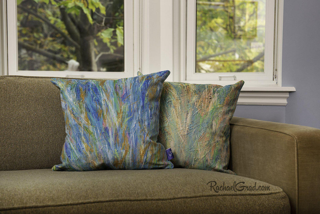 Abstract Pillows Wild Flowers on Green Couch by Toronto Artist Rachael Grad