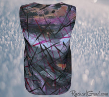 Load image into Gallery viewer, Tank Tops for Women in Black Purple Art by Toronto Artist Rachael Grad back view