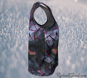 Tank Tops for Women in Black Purple Art by Toronto Artist Rachael Grad side view snow