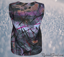 Load image into Gallery viewer, Tank Top Regular Fit by Toronto Artist Rachael Grad in Black Purple back view