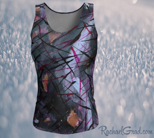 Fitted Tank Top in Black Purple Abstract Art by Artist Rachael Grad front