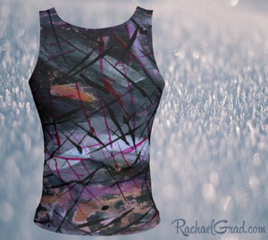 Fitted Tank Top in Black Abstract Art by Toronto Artist Rachael Grad back
