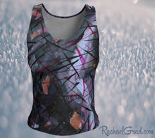 Load image into Gallery viewer, Fitted Tank Top in Black Abstract Art by Toronto Artist Rachael Grad front
