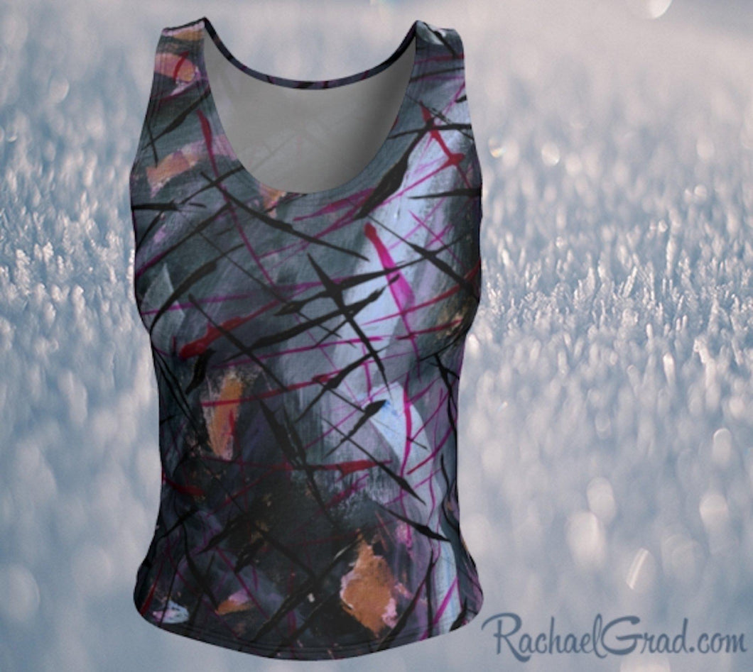 Fitted Tank Top in Black Abstract Art by Toronto Artist Rachael Grad front