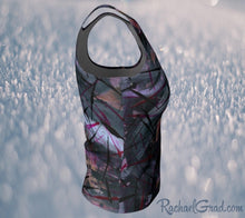 Load image into Gallery viewer, Fitted Tank Top in Black Abstract Art by Toronto Artist Rachael Grad side view