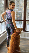Load image into Gallery viewer, Tank Top Regular Fit by Toronto Artist Rachael Grad in Black Purple on Jess with dog