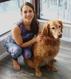 Tank Top Regular Fit by Toronto Artist Rachael Grad in Black Purple on Jess with dog
