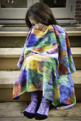 Art Blanket snuggle with girl by Toronto Artist Rachael Grad
