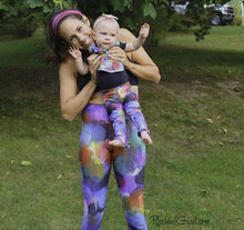 Load image into Gallery viewer, Colorful Baby Bibs by Toronto Artist Rachael Grad on Baby and mom Model