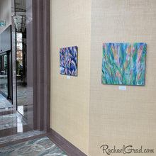 Load image into Gallery viewer, Colorful Art in the Hilton Toronto Markham Suites by Artist Rachael Grad, Green Grass and Purple Flowers Abstract Artwork