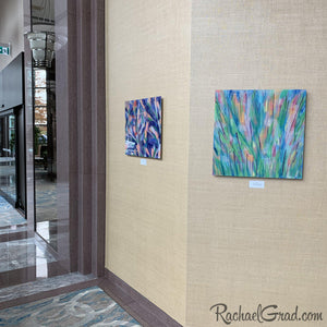 Colorful Art in the Hilton Toronto Markham Suites by Artist Rachael Grad, Green Grass and Purple Flowers Abstract Artwork