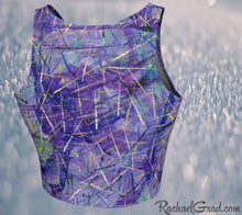 Load image into Gallery viewer, Athletic Crop Top in Purple by Toronto Artist Rachael Grad back view