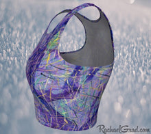 Load image into Gallery viewer, Athletic Crop Tops in Purple by Toronto Artist Rachael Grad side view