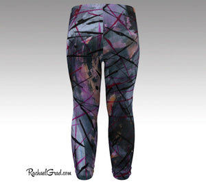 Baby Leggings | Black Abstract Art Clothes, back view,  by Artist Rachael Grad