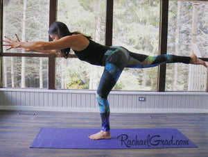 Black Abstract Art Leggings Max Style by Artist Rachael Grad on Jess Pilates balance exercise