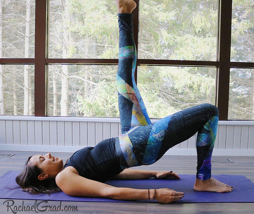 Black Abstract Art Leggings Max Style by Artist Rachael Grad on Jess Pilates floor exercise