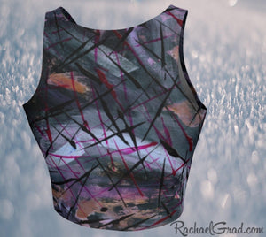 Black Athletic Crop for Women by Artist Rachael Grad back view