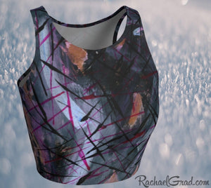 Black Athletic Crop for Women by Artist Rachael Grad front view