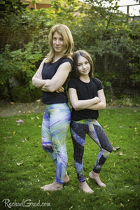 Black Leggings Mom and Me Tights by Artist Rachael Grad Max mom and daughter front
