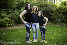 Load image into Gallery viewer, Black Leggings and Green Leggings Mommy and Me Artist Rachael Grad and mom and daughter