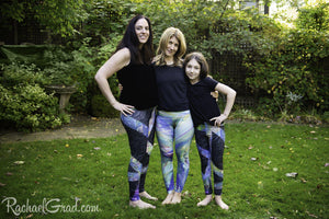 Black Leggings and Green Leggings Mommy and Me Artist Rachael Grad and mom and daughter