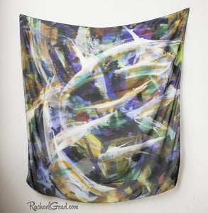 Black White Abstract Art Scarf by Artist Rachael Grad square scarves