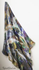Black White Abstract Art Scarf by Artist Rachael Grad on angle