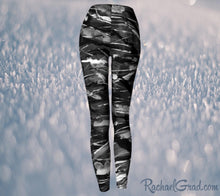 Load image into Gallery viewer, Black and White Leggings Pants by Toronto Artist Rachael Grad, elastic waist back