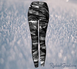 Black and White Leggings Pants by Toronto Artist Rachael Grad, elastic waist back